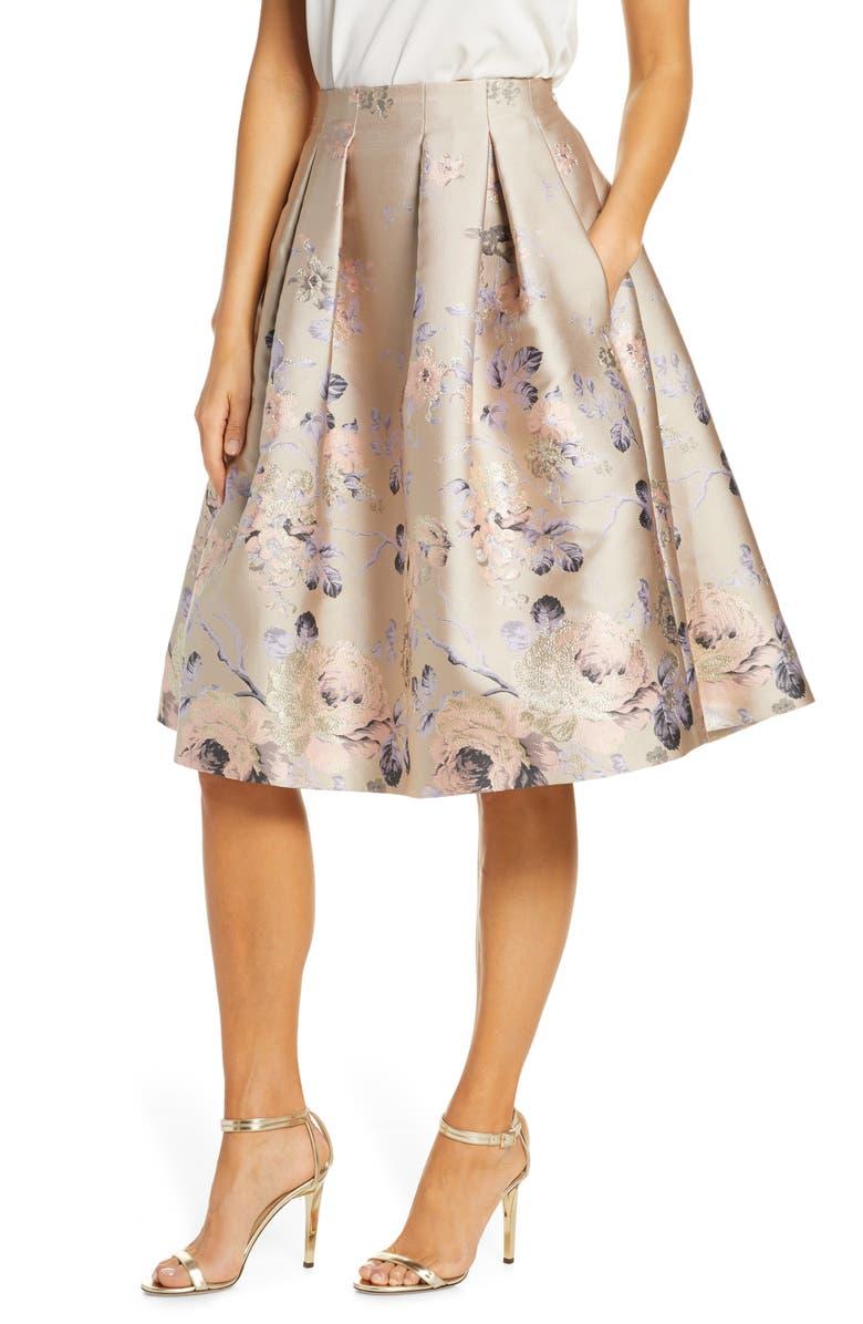 ELIZA J Floral Metallic Jacquard Pleated Skirt, Main, color, BEIGE