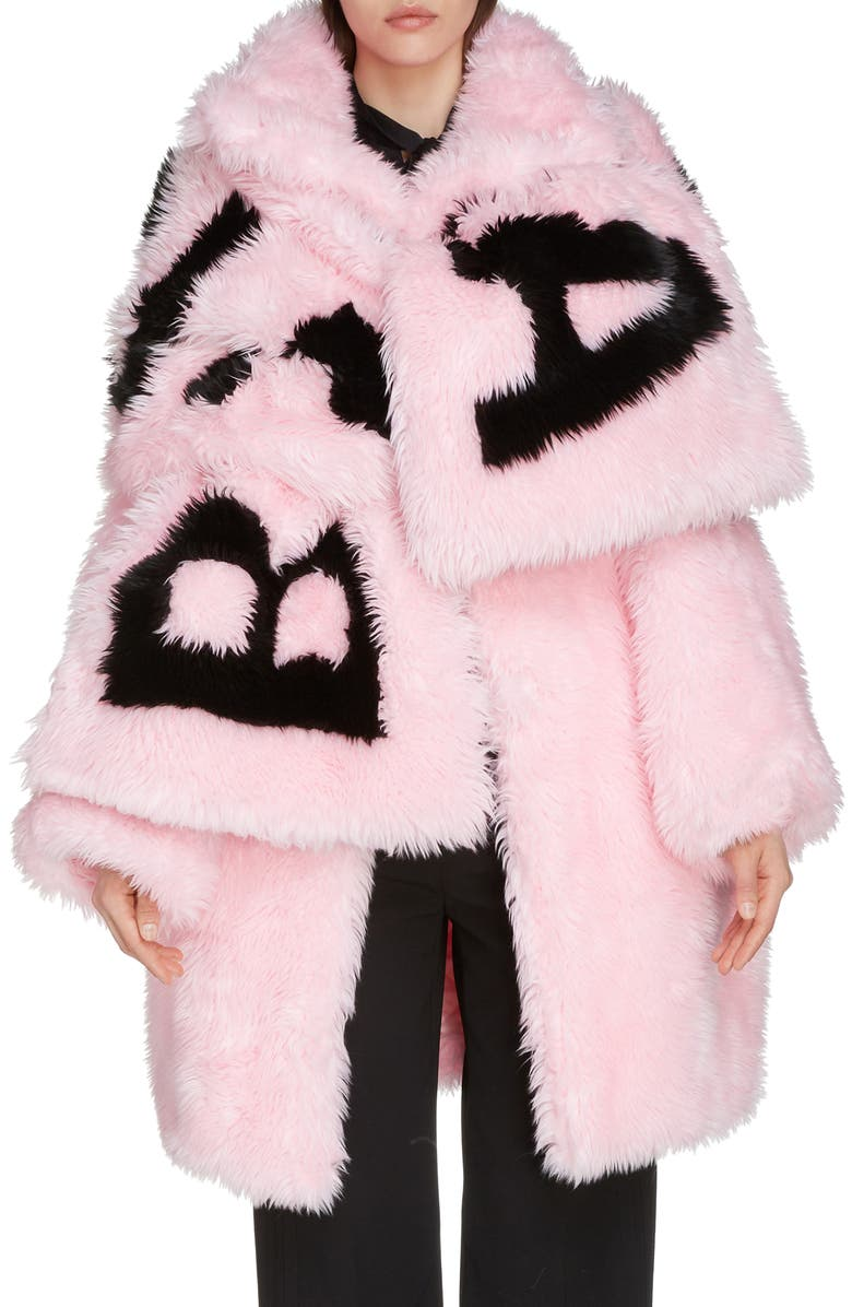 BALENCIAGA Oversize Faux Fur Coat, Main, color, CANDY PINK