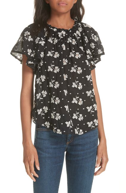 Image of La Vie Rebecca Taylor Helene Embroidery Off the Shoulder Cotton Blouse