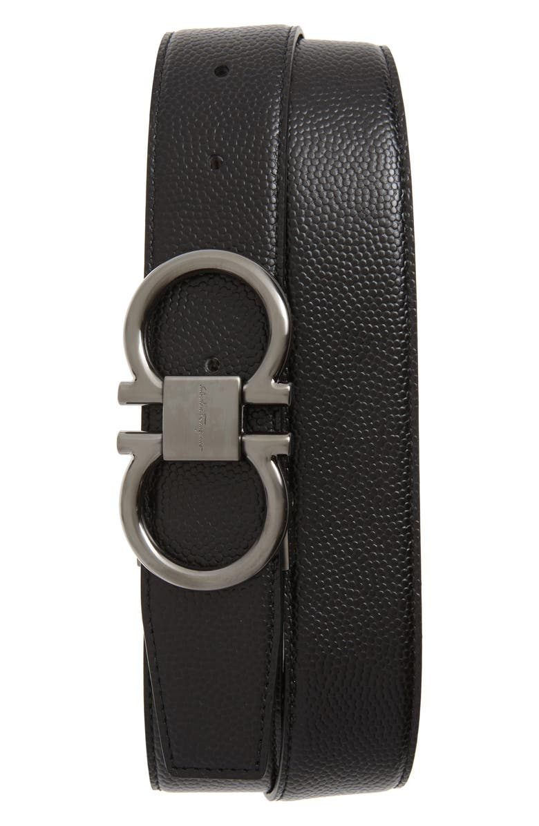 SALVATORE FERRAGAMO Reversible Pebbled Calfskin Belt, Main, color, BLACK/ CHOCOLATE