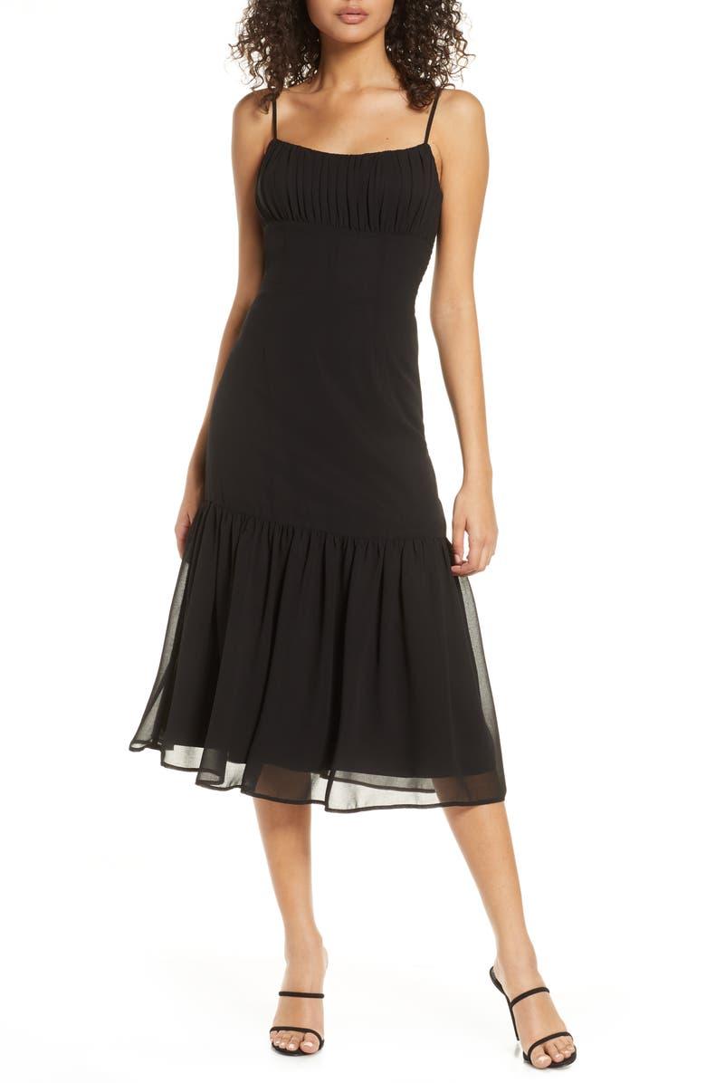BELLEVUE THE LABEL Alice Flounce Hem Dress, Main, color, BLACK
