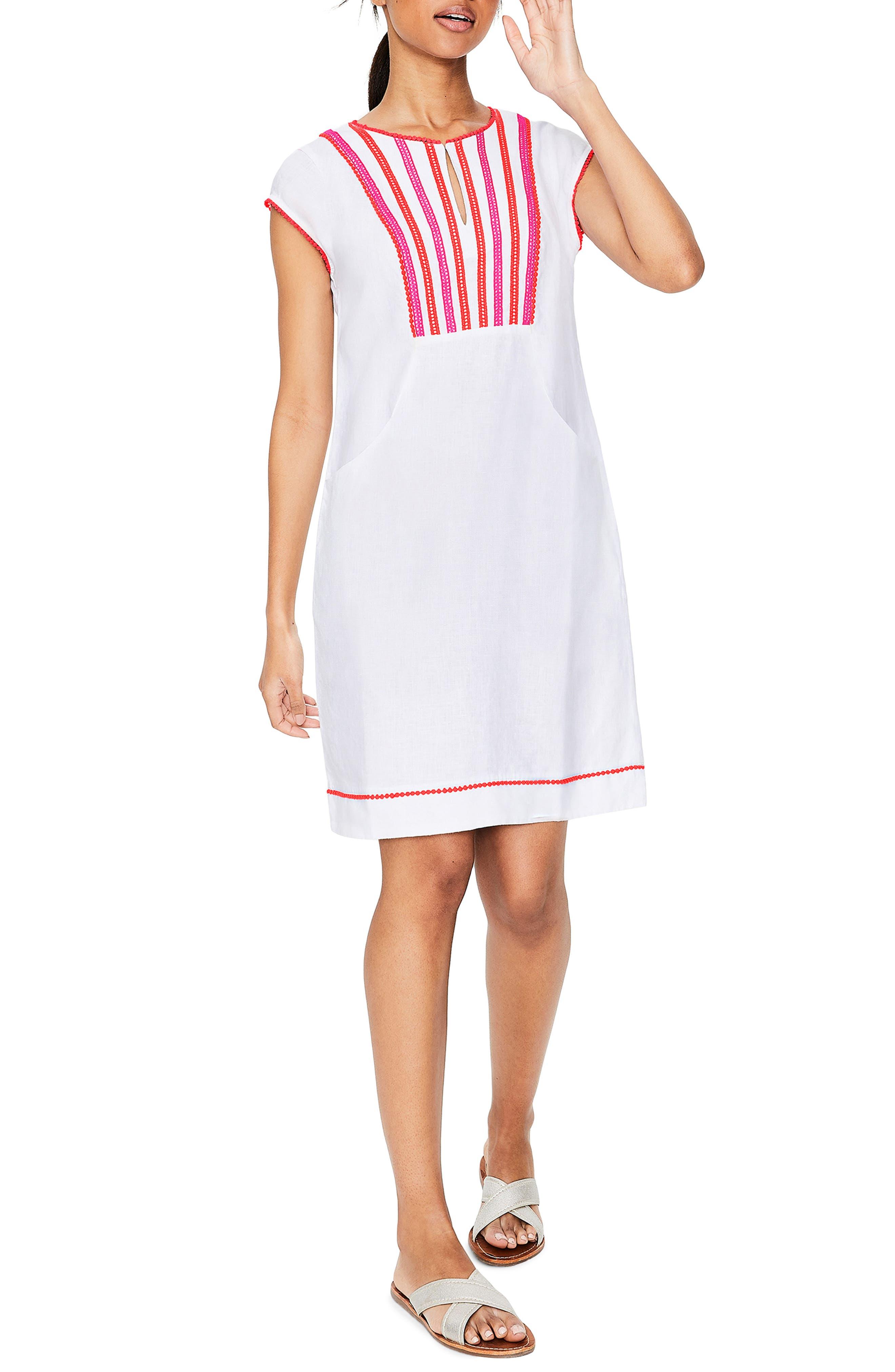 Petite Boden Jessica Linen Dress, White
