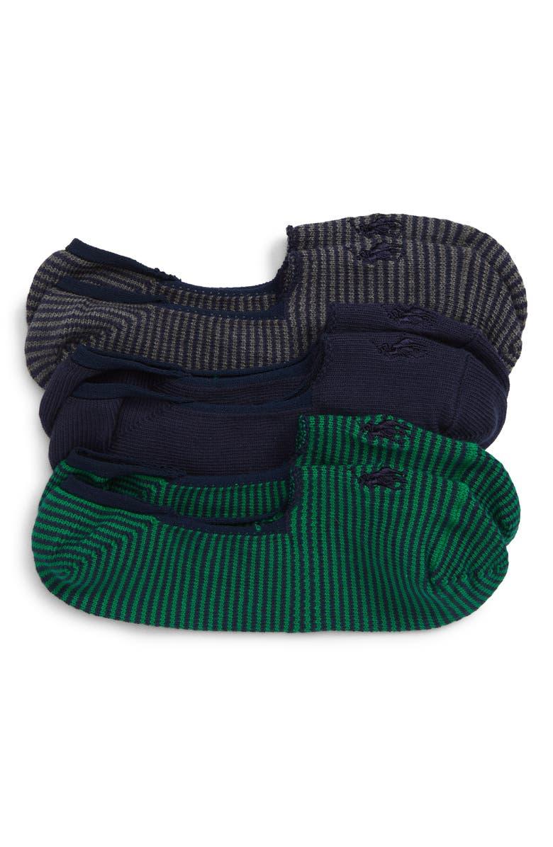 POLO RALPH LAUREN High Gauge 3-Pack Liner Socks, Main, color, GREY