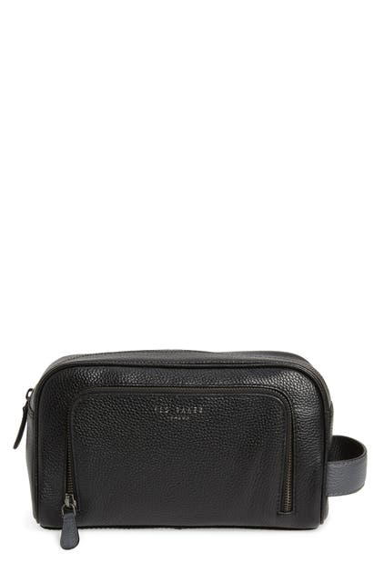 Ted Baker Leather Travel Kit In Black