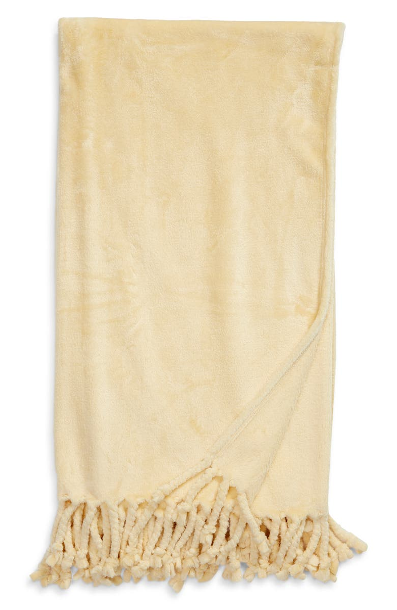NORDSTROM Bliss Plush Throw, Main, color, YELLOW STRAW