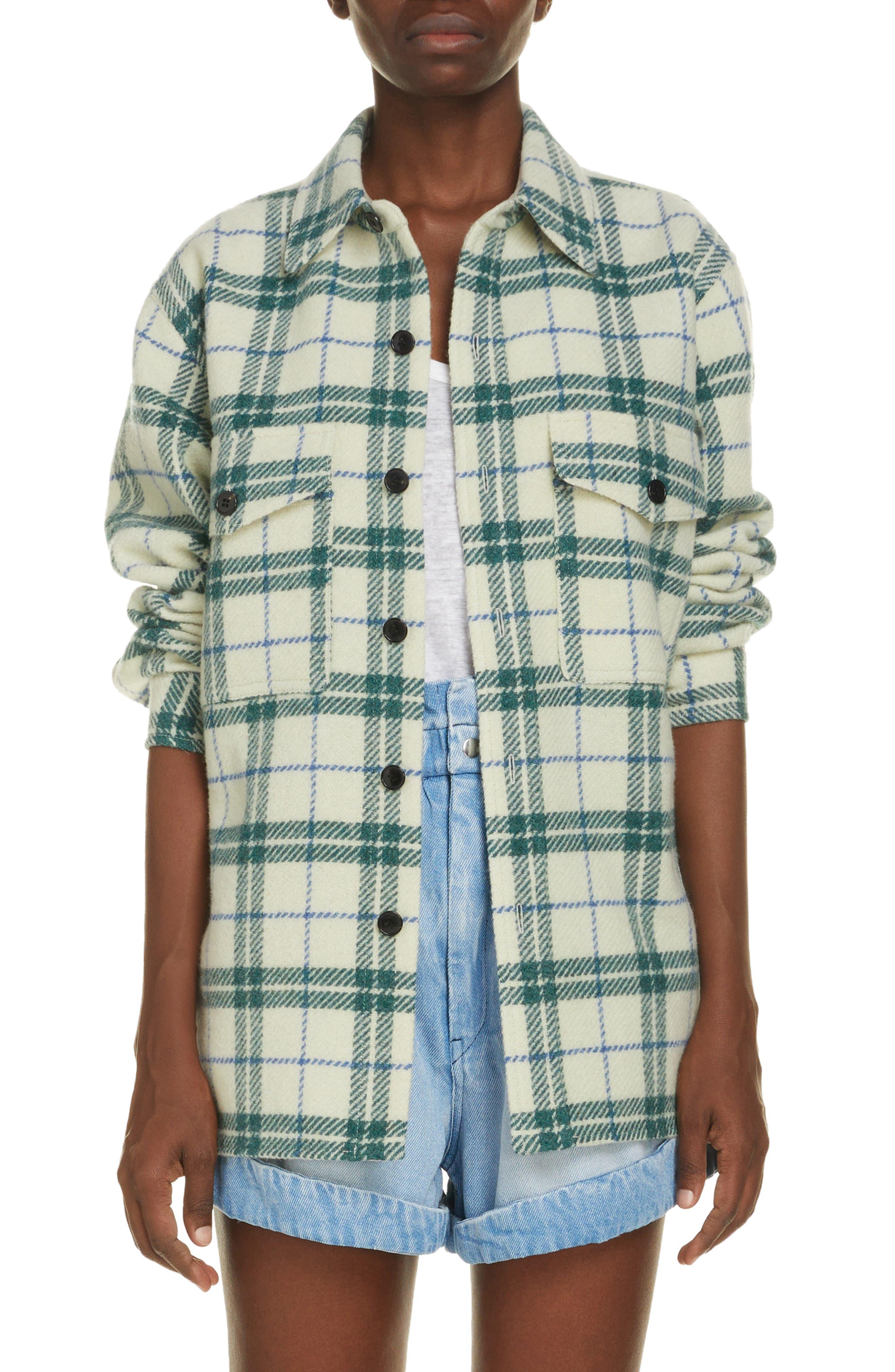 Women's Isabel Marant Faxon Plaid Wool Shirt