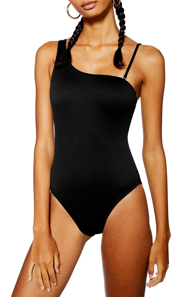 TOPSHOP Ribbed One-Shoulder One-Piece Swimsuit, Main, color, Black