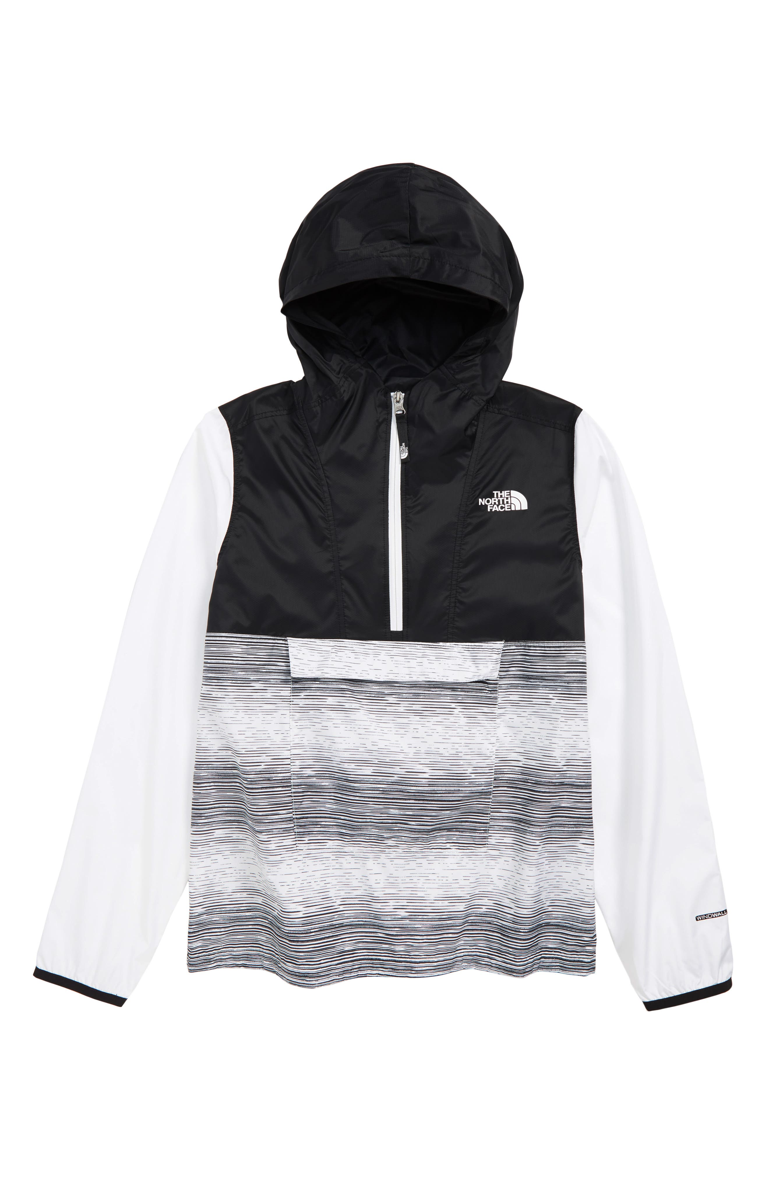 ,                             Wind & Water Resistant Fanorak,                             Main thumbnail 1, color,                             TNF WHITE DISTRESSED PRINT