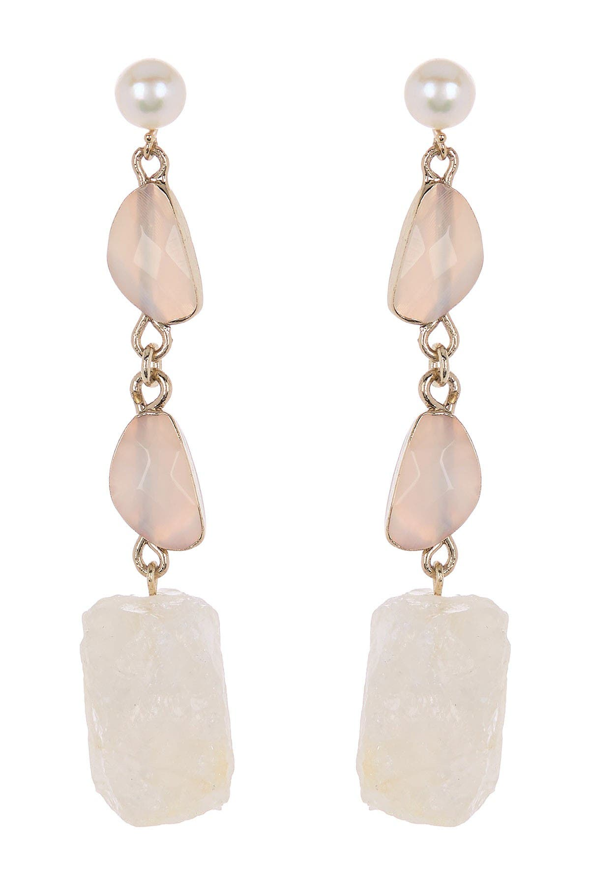 Image of Carolee Eden Gold Plated Agate, Quartz & Freshwater Pearl Drop Earrings