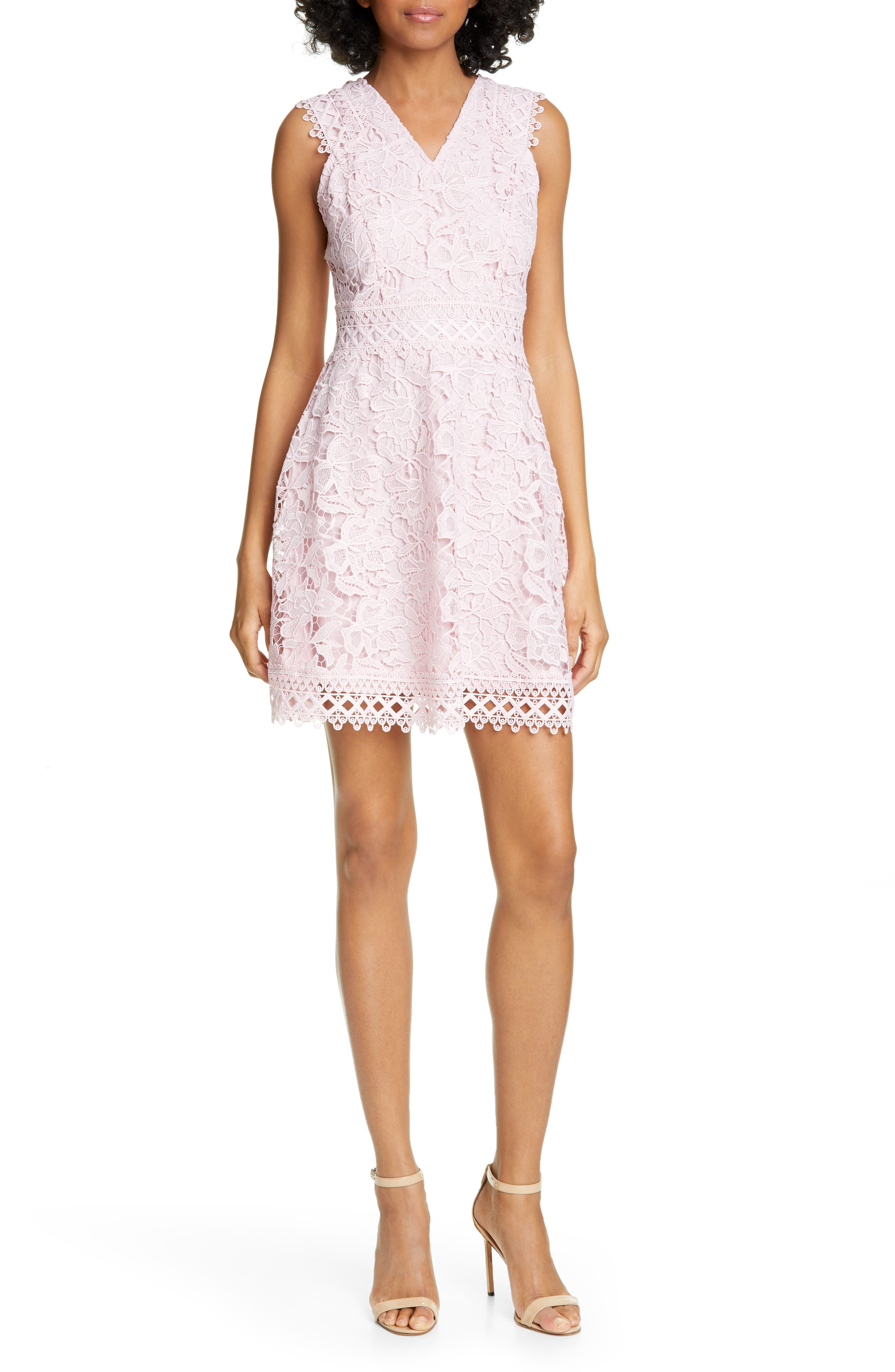 Ted Baker London Beniel Fit & Flare Lace Party Dress, Pink