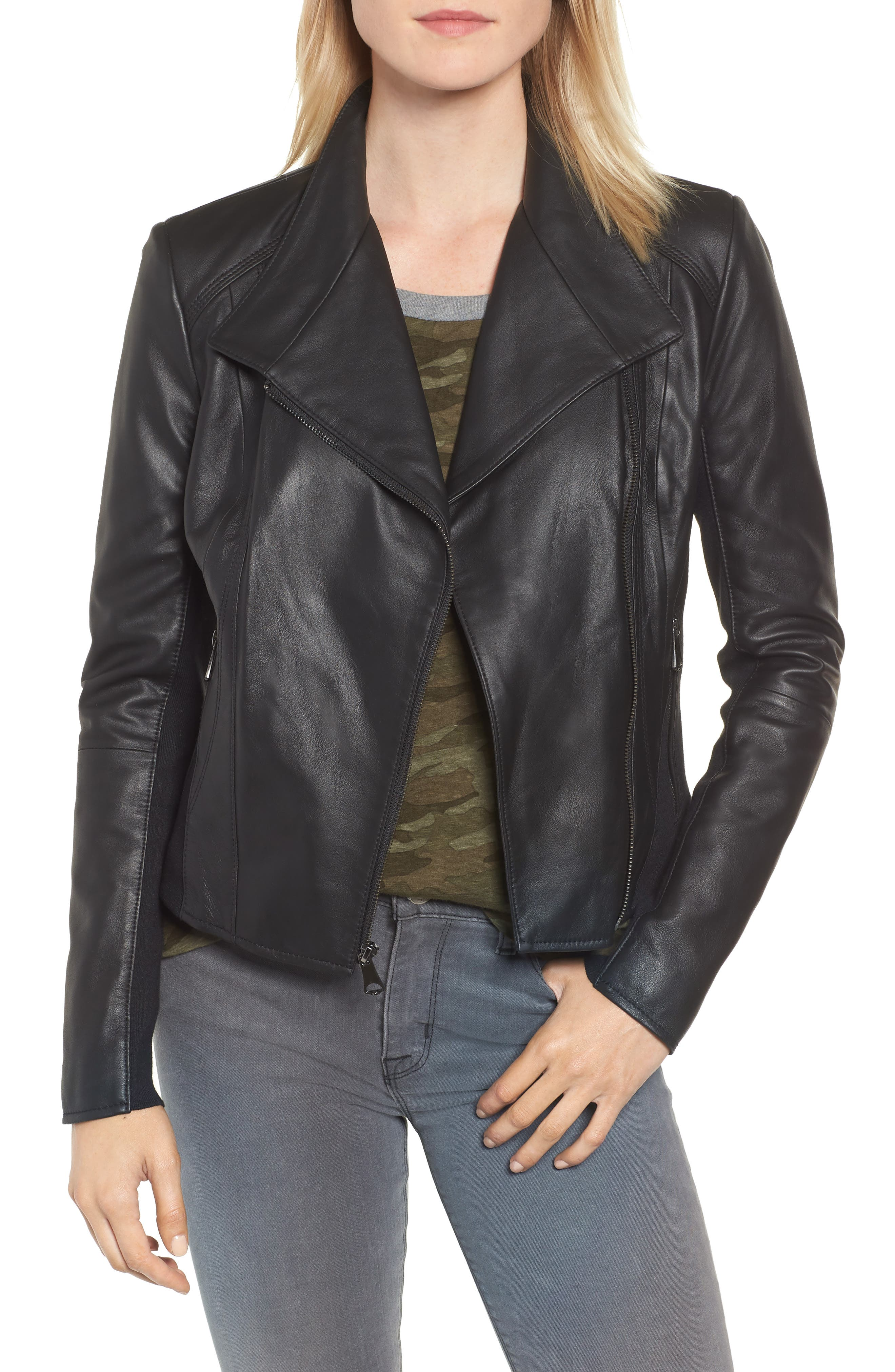 ,                             Marc New York by Andrew Marc Felix Stand Collar Leather Jacket,                             Main thumbnail 1, color,                             BLACK