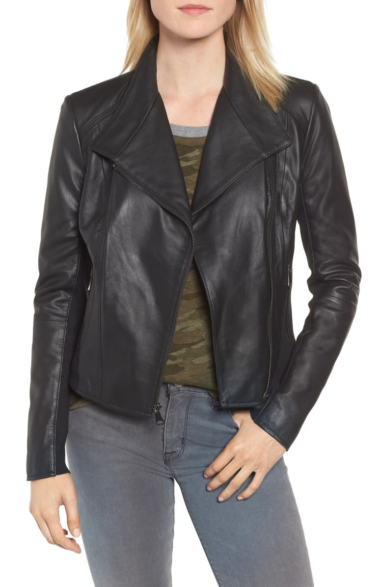 ANDREW MARC Marc New York by Andrew Marc Felix Stand Collar Leather Jacket, Main, color, BLACK