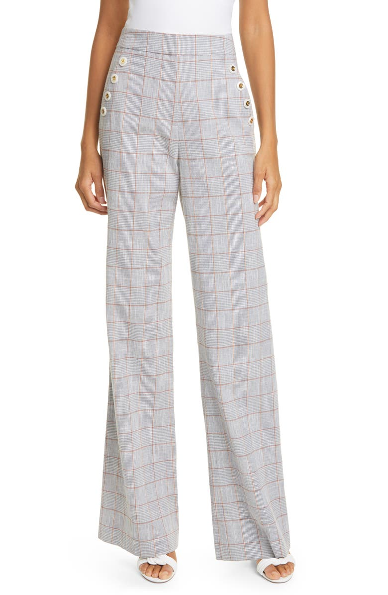VERONICA BEARD Tuli Glen Plaid Wide Leg Pants, Main, color, BLUE MULTI