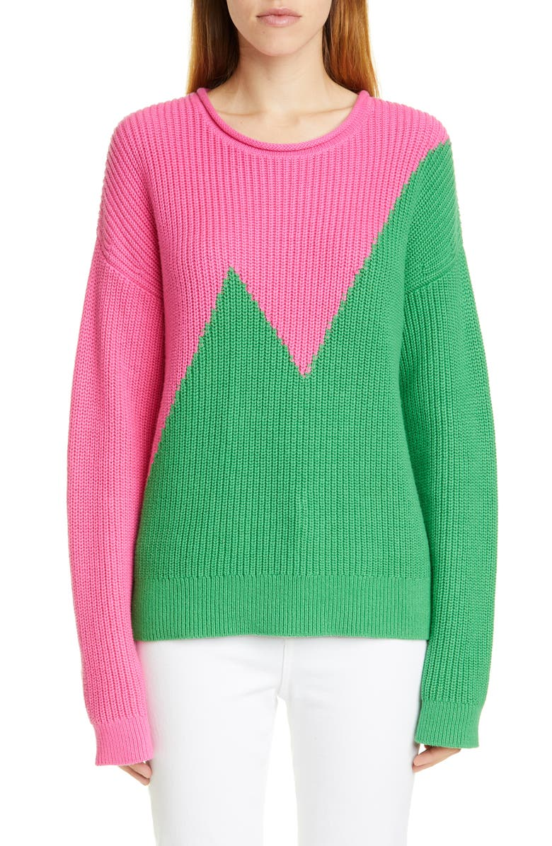VICTOR GLEMAUD Colorblock Cotton & Cashmere Sweater, Main, color, PINK AND GREEN COMBO