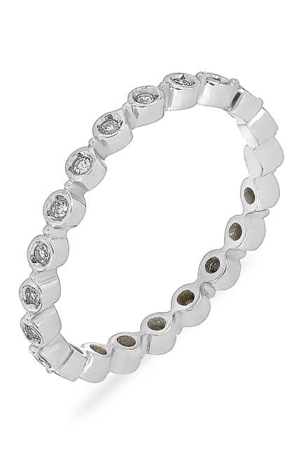 Image of Carriere Sterling Silver Bezel Set Diamond Stackable Ring - 0.12 ctw