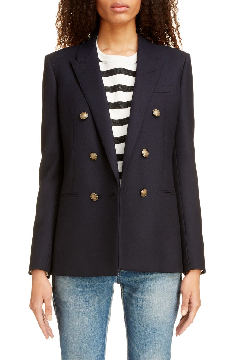 SAINT LAURENT Double Breasted Wool Gabardine Jacket, Main, color, MARINE FONCE