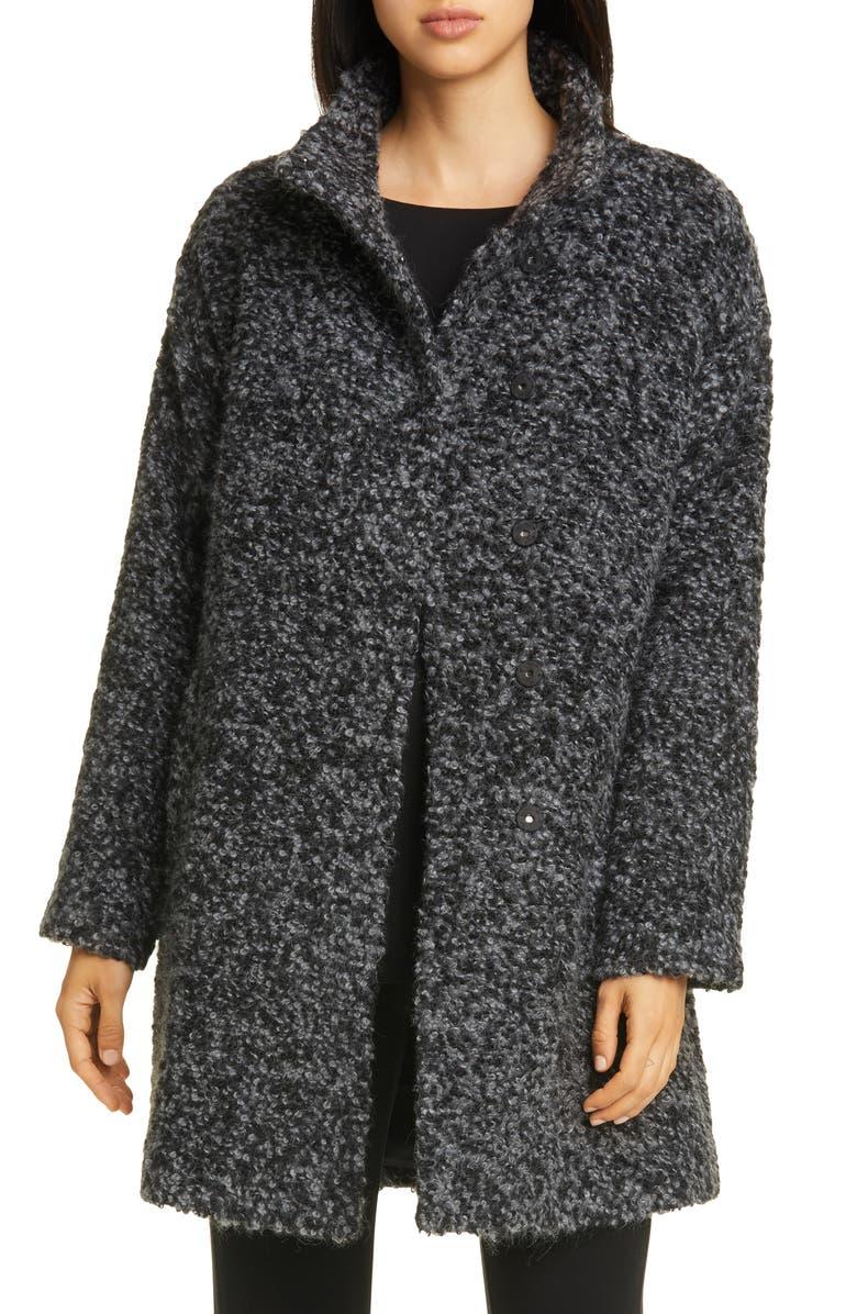 EILEEN FISHER High Collar Alpaca & Wool Blend Coat, Main, color, 091