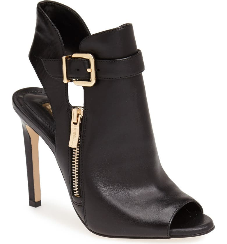 BCBGENERATION 'Chandler' Peep Toe Leather Bootie, Main, color, 001