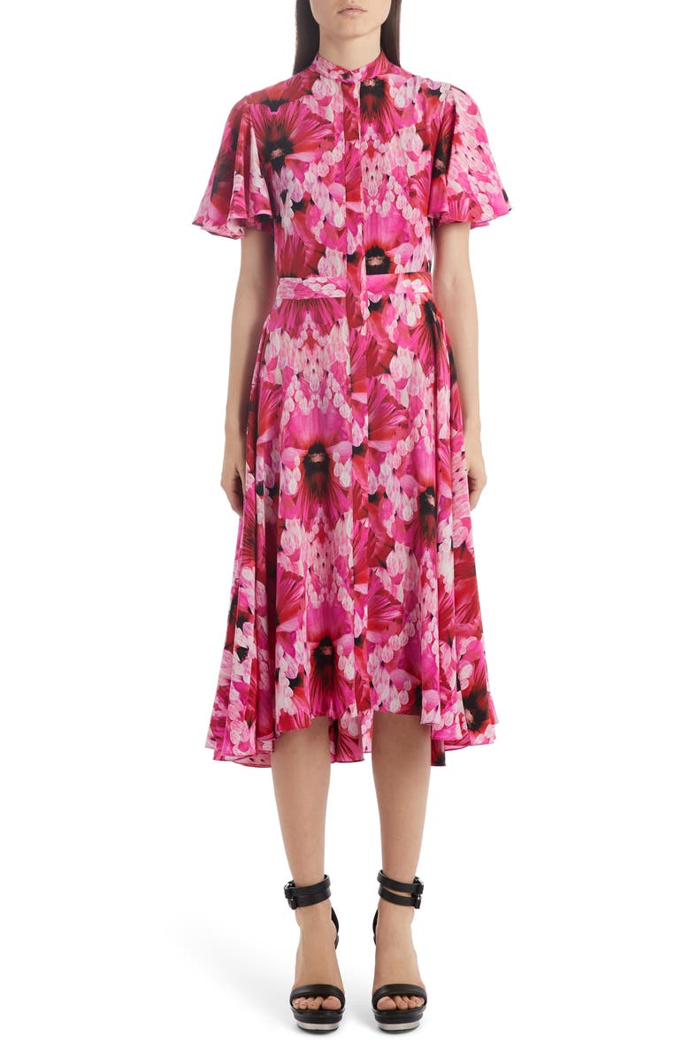 ALEXANDER MCQUEEN Flutter Sleeve Floral Silk Midi Dress, Main, color, ORCHID PINK