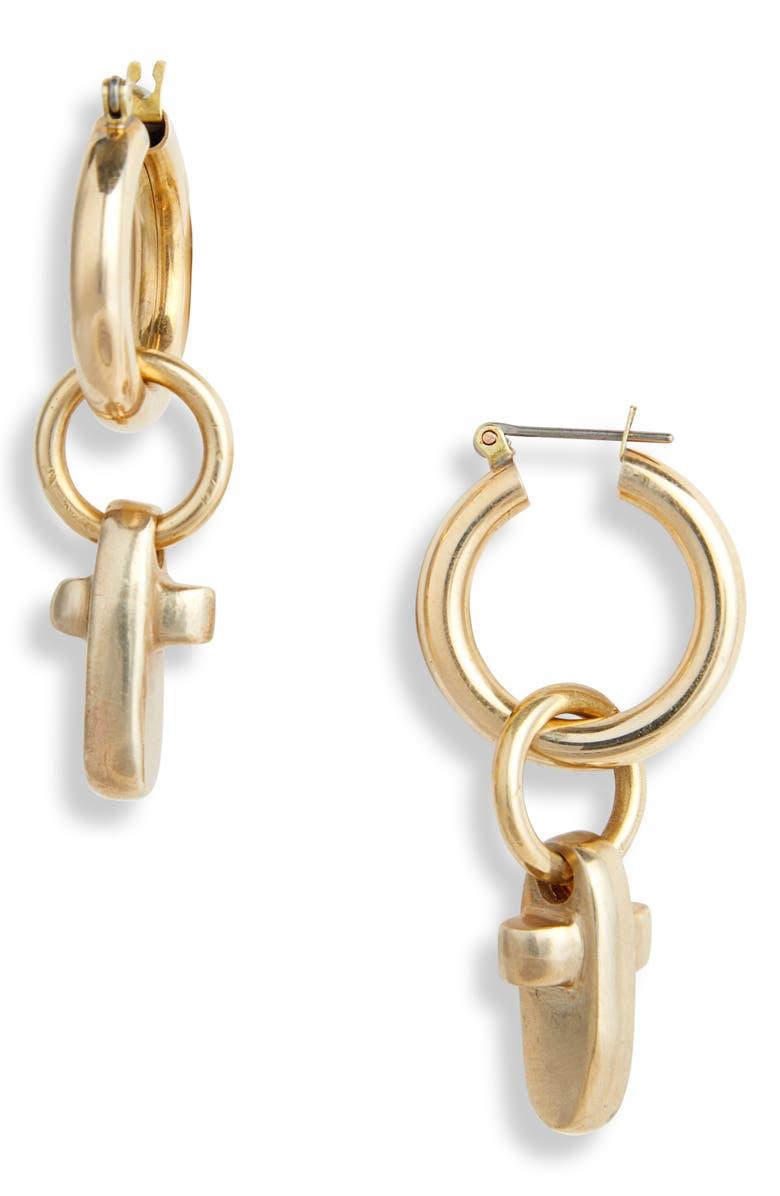 LAURA LOMBARDI Croce Earrings, Main, color, BRASS