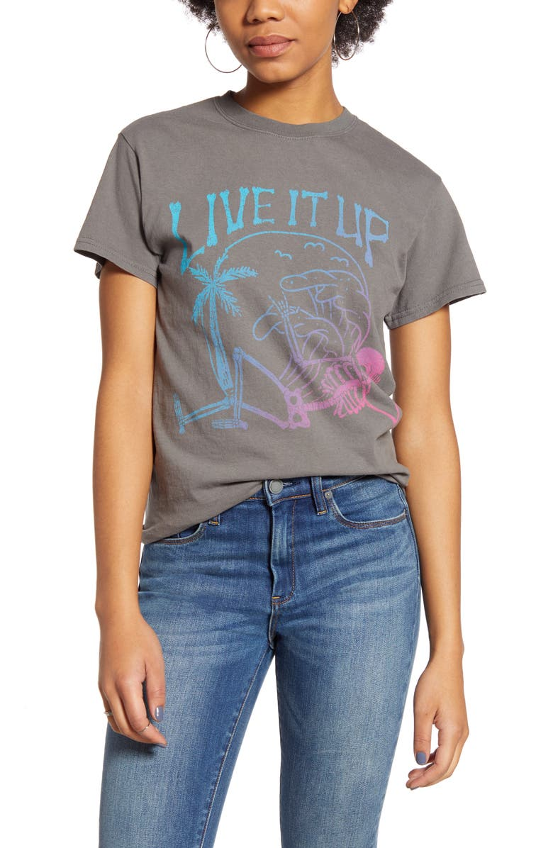 VINYL ICONS Live It Up Graphic Tee, Main, color, 020