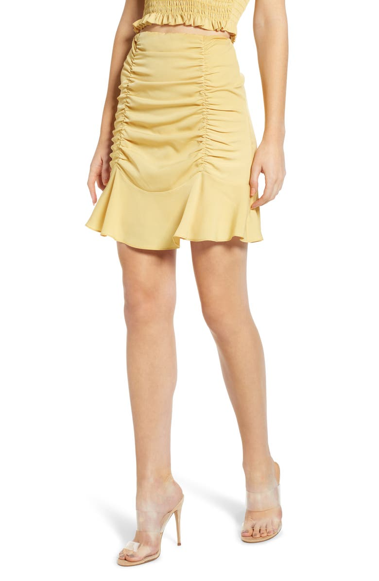 4SI3NNA Ruched Short Skirt, Main, color, PALE MUSTARD