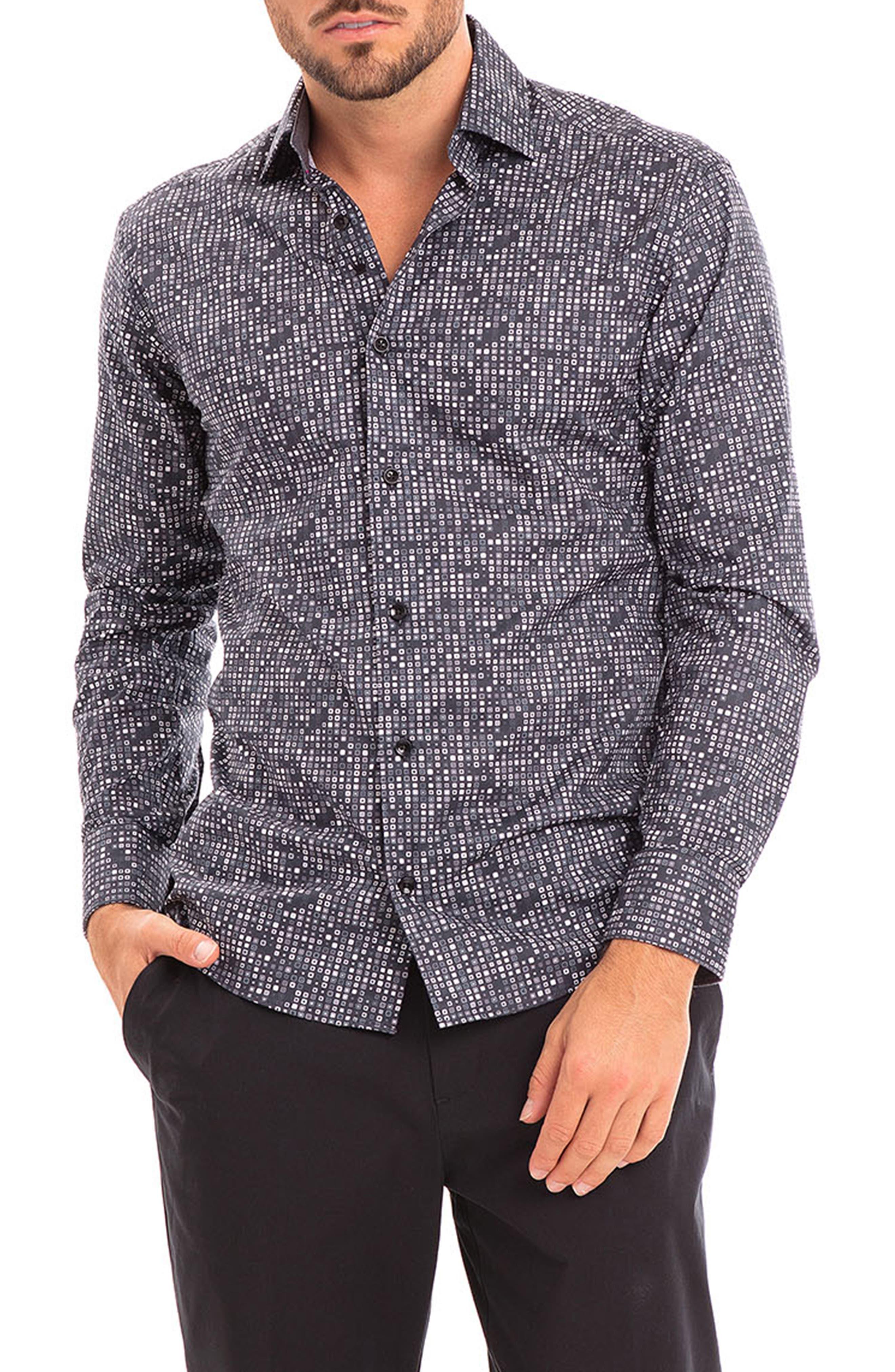 Berezi Dot Print Slim Fit Button-Up Shirt