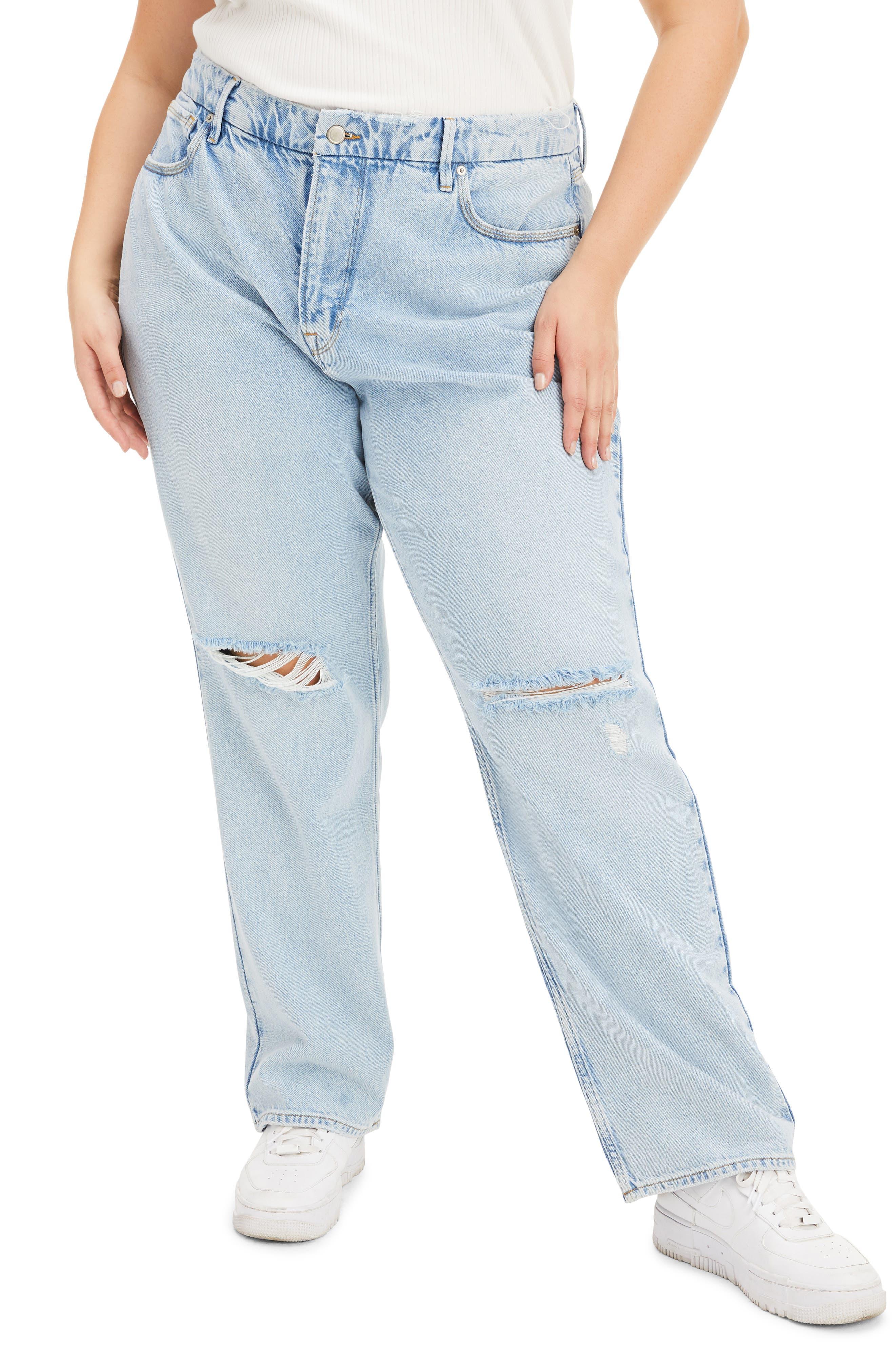 Plus Women's Good American Good '90S Ripped Straight Leg Jeans