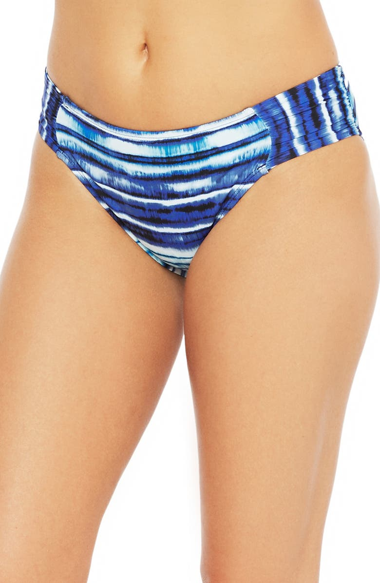 LA BLANCA Stripe Shirred Banded Hipster Bikini Bottoms, Main, color, BLUE