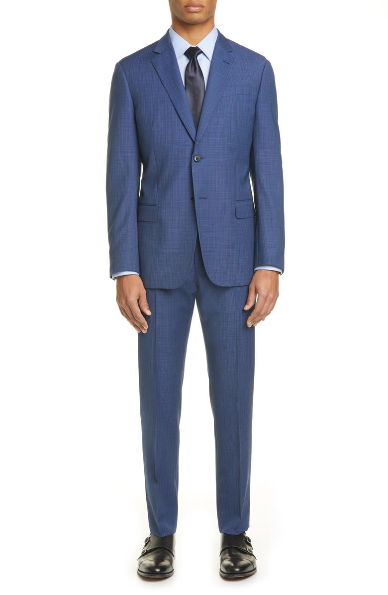 EMPORIO ARMANI G Line Trim Fit Check Wool Suit, Main, color, BLUE