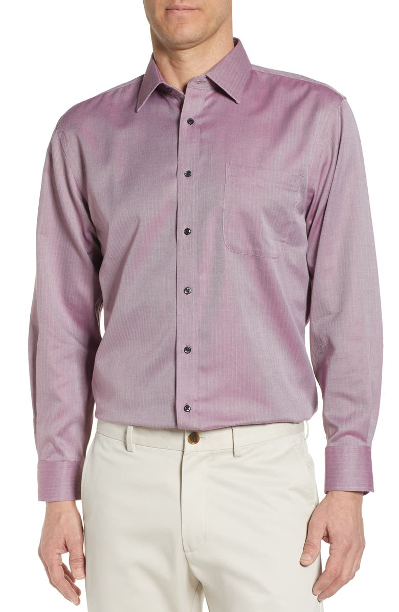 NORDSTROM MEN'S SHOP Smartcare<sup>™</sup> Traditional Fit Herringbone Dress Shirt, Main, color, BURGUNDY ROYALE