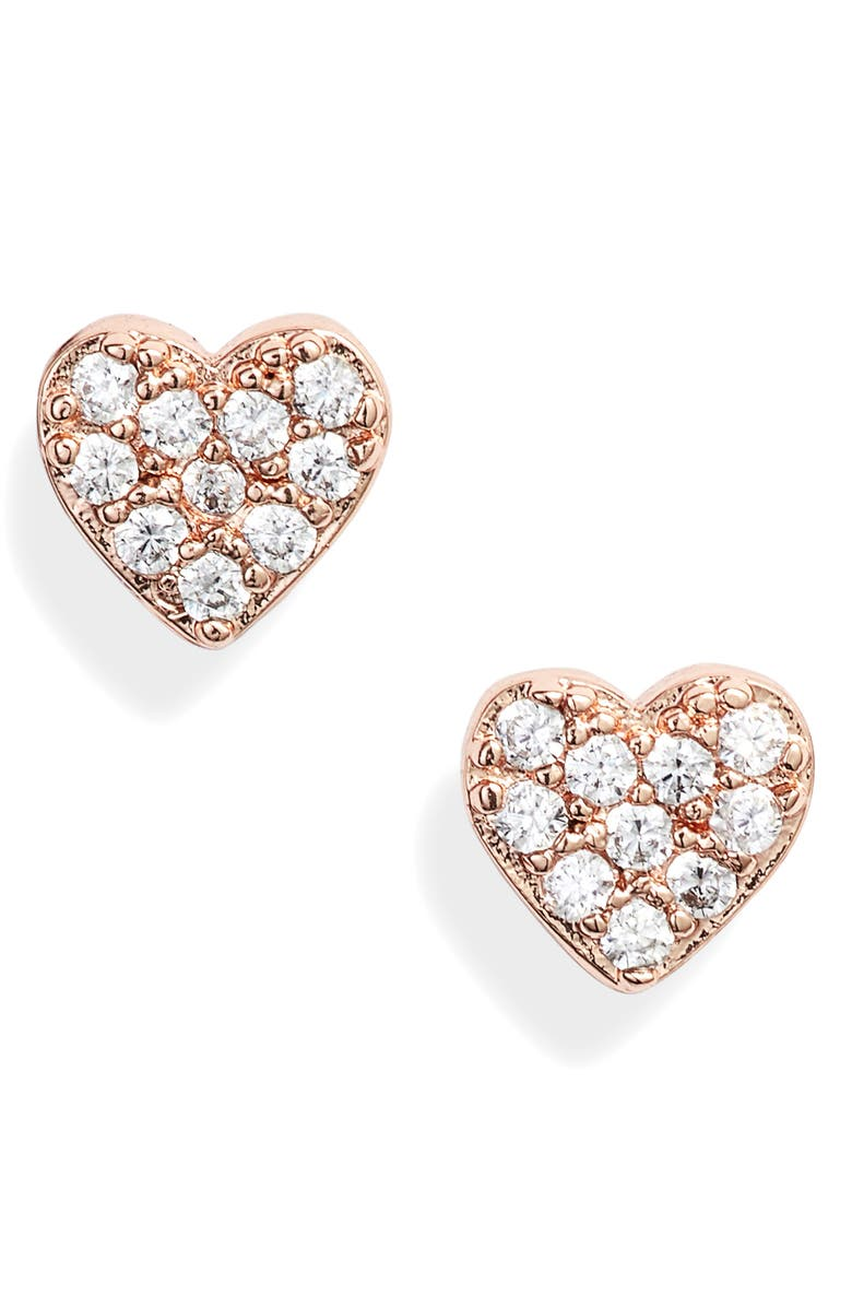 KATE SPADE NEW YORK heart stud earrings, Main, color, CLEAR/ ROSE GOLD