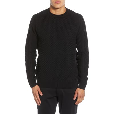 Karl Lagerfield Paris Textured Side Zip Pullover Sweater, Black