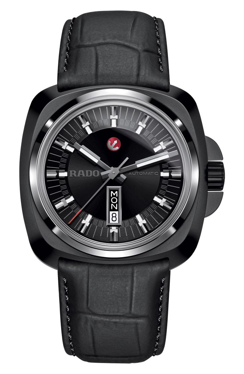 RADO HyperChrome 1616 Leather Band Watch, 46mm, Main, color, BLACK