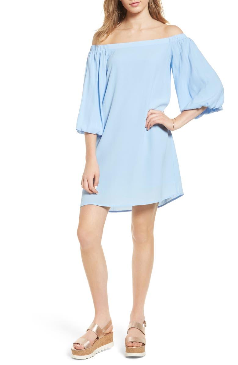 SOPRANO Bell Sleeve Off the Shoulder Dress, Main, color, 400