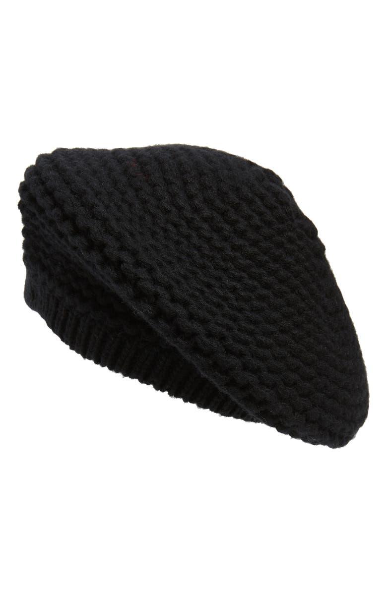 NORDSTROM SIGNATURE Knit Cashmere Beret, Main, color, BLACK