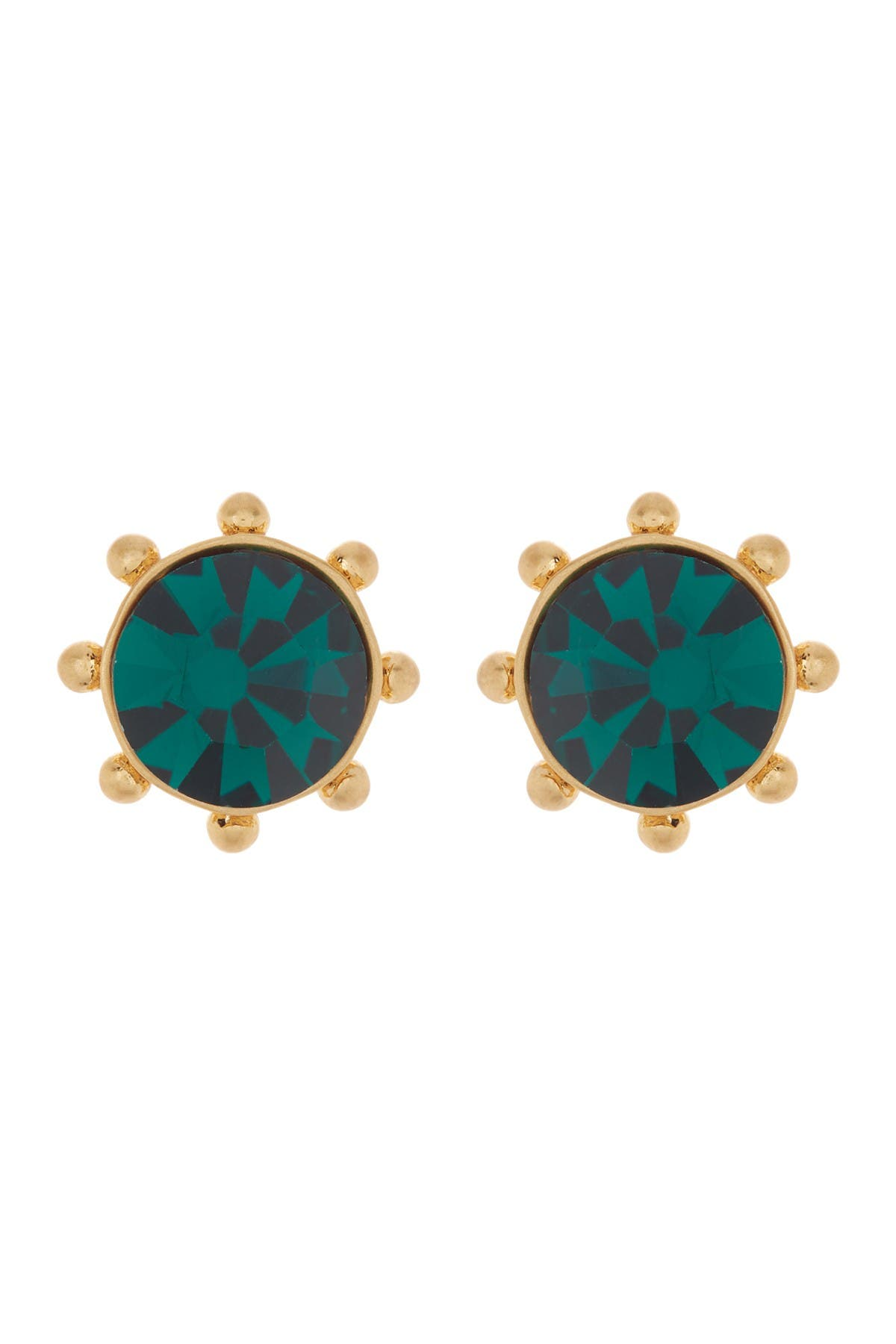 Image of kate spade new york gold-tone bezel set crystal stud earrings