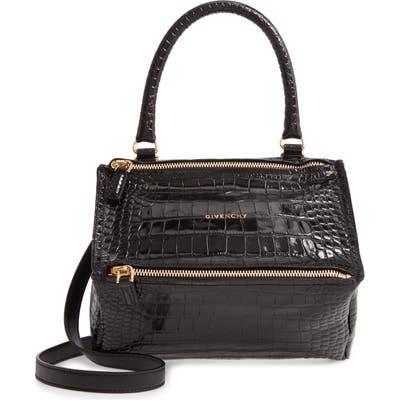 Givenchy Small Pandora Croc Embossed Leather Shoulder Bag - Black