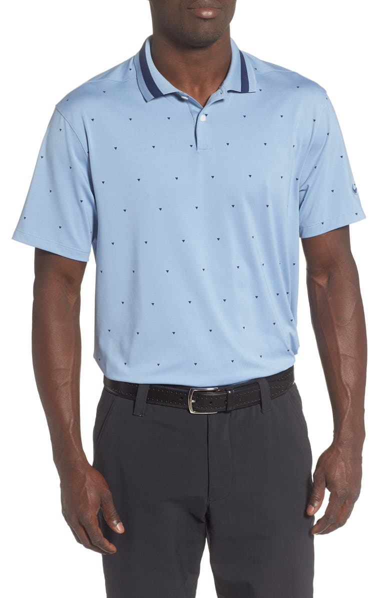 NIKE Dri-FIT Vapor Geo Print Performance Golf Polo, Main, color, INDIGO FOG/ BLUE VOID/ INDIGO