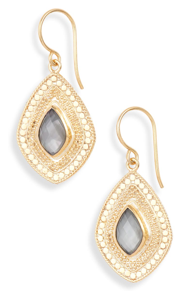 ANNA BECK Stone Kite Drop Earrings, Main, color, GOLD/ GREY QUARTZ
