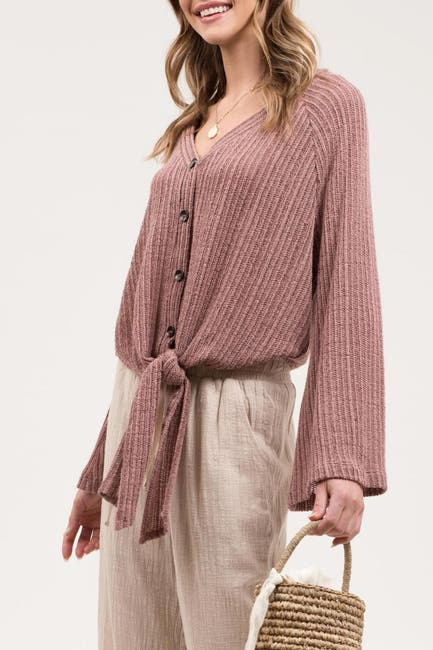 Image of Blu Pepper Front Tie Bell Sleeve Knit Top