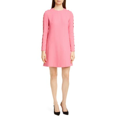 Lela Rose Wave Inset Long Sleeve Tunic Dress, Pink