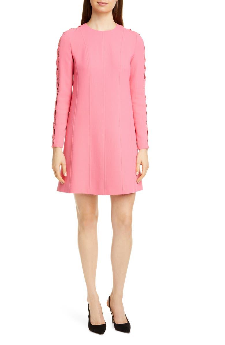 LELA ROSE Wave Inset Long Sleeve Tunic Dress, Main, color, PEONY