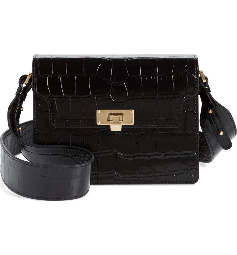 MARGE SHERWOOD Vintage Brick Croc Embossed Leather Bag, Main, color, 001