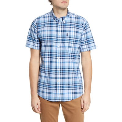 Barbour Madras 5 Tailored Fit Short Sleeve Button-Down Shirt, Blue