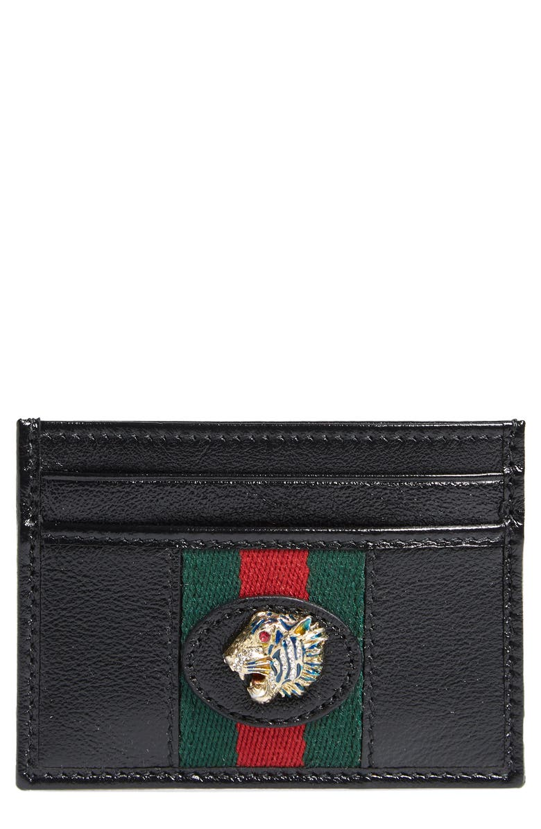 GUCCI Rajah Leather Card Case, Main, color, NERO/ VERT RED MULTI