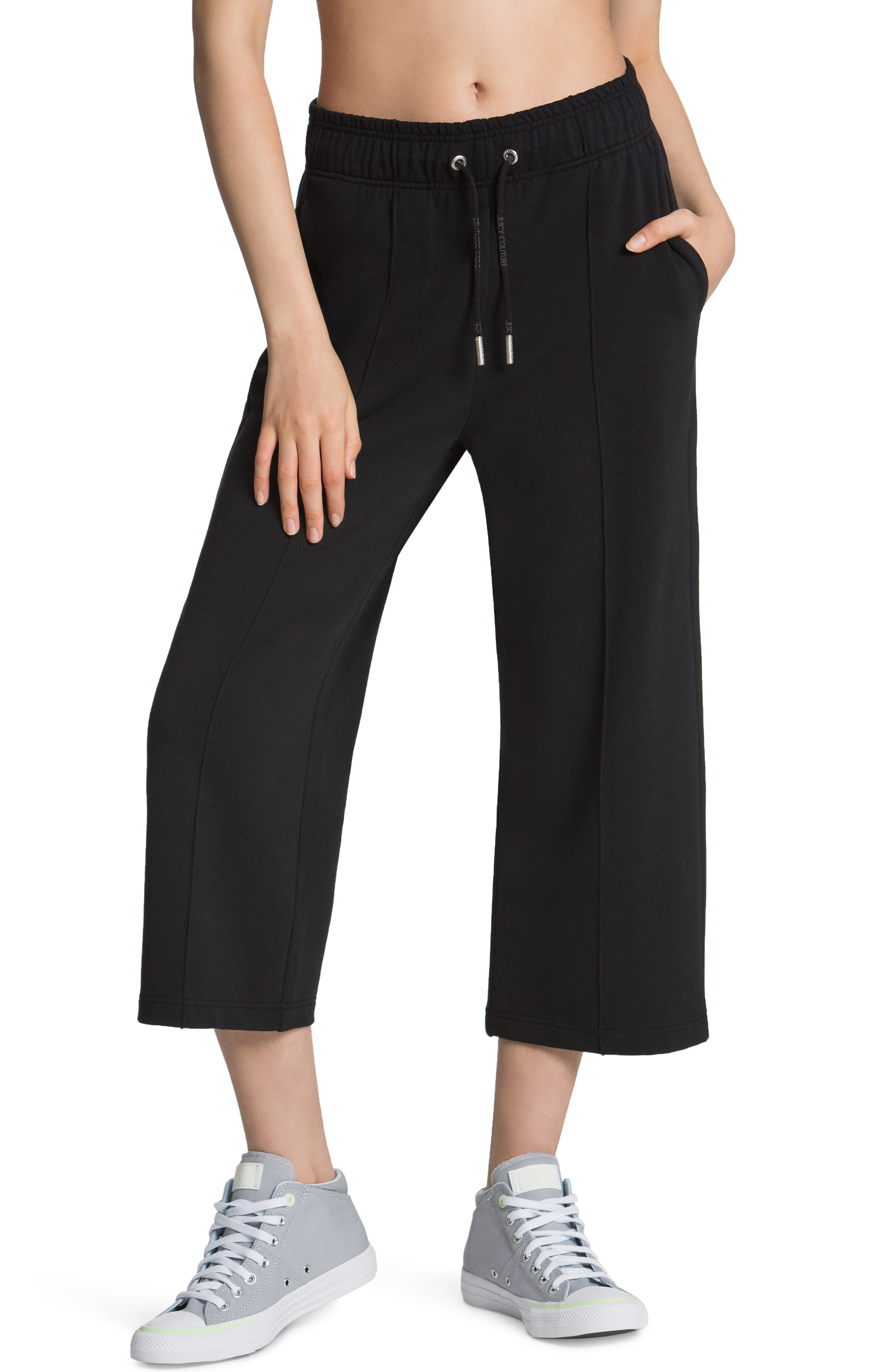 French Terry Crop Wide Leg Sweatpants
