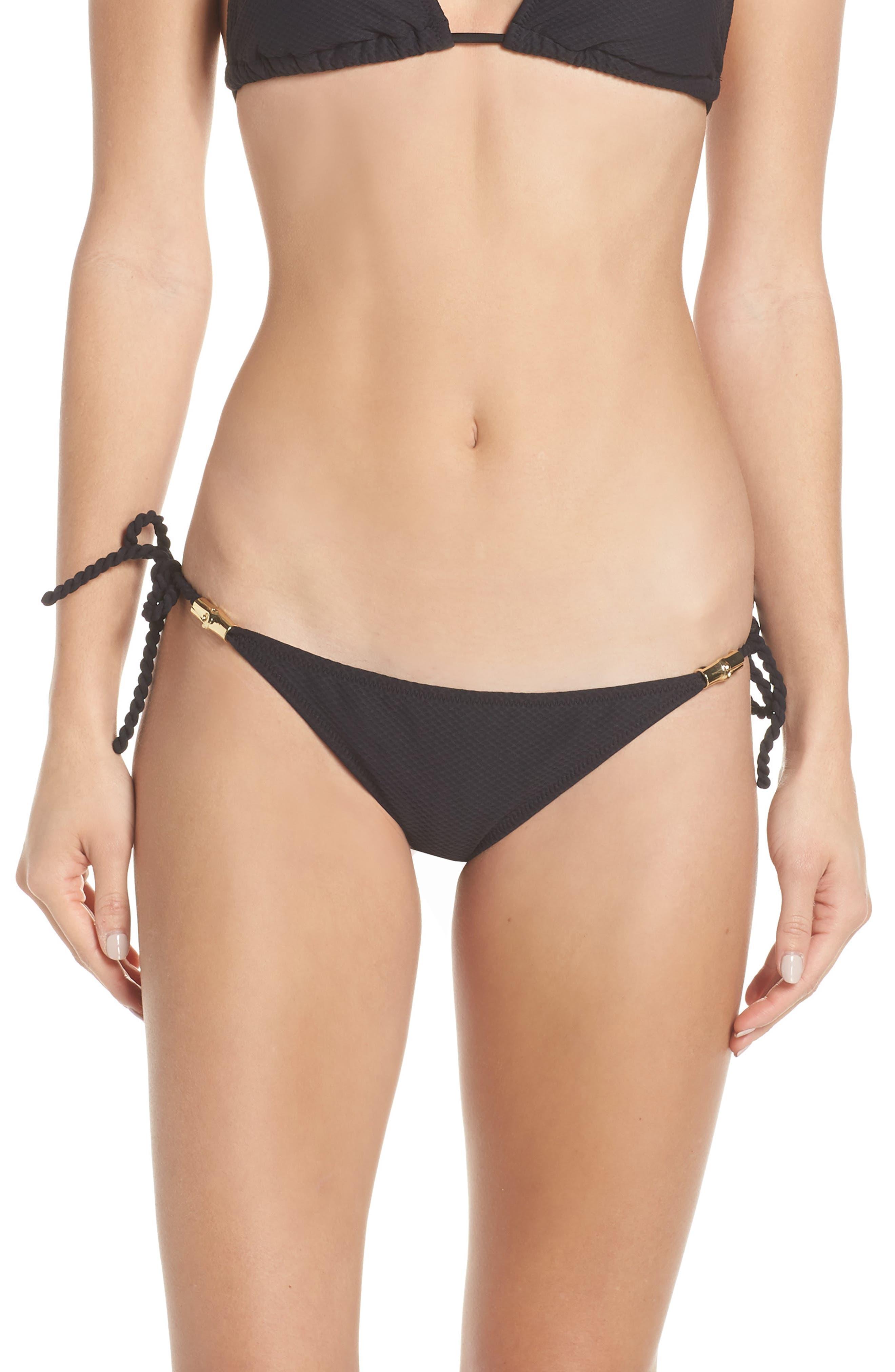 Heidi Klein Core Tie Side Bikini Bottoms, Black