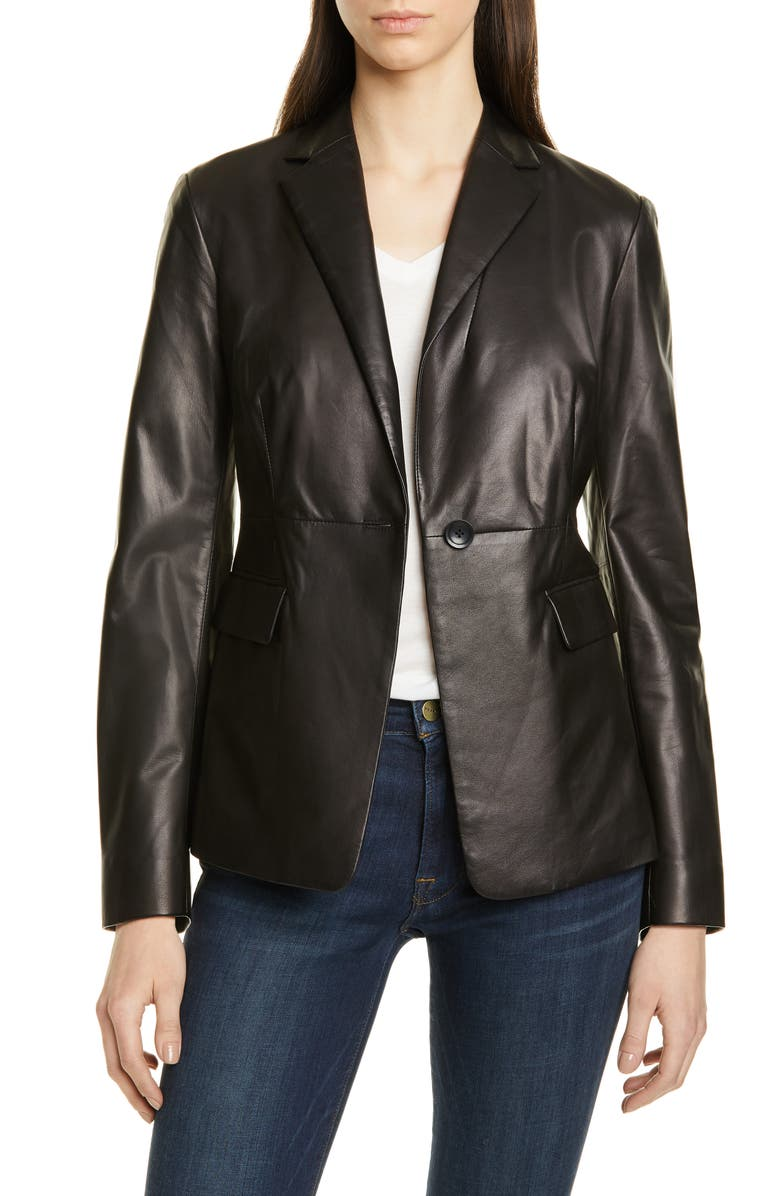 NORDSTROM SIGNATURE Leather Blazer, Main, color, BLACK