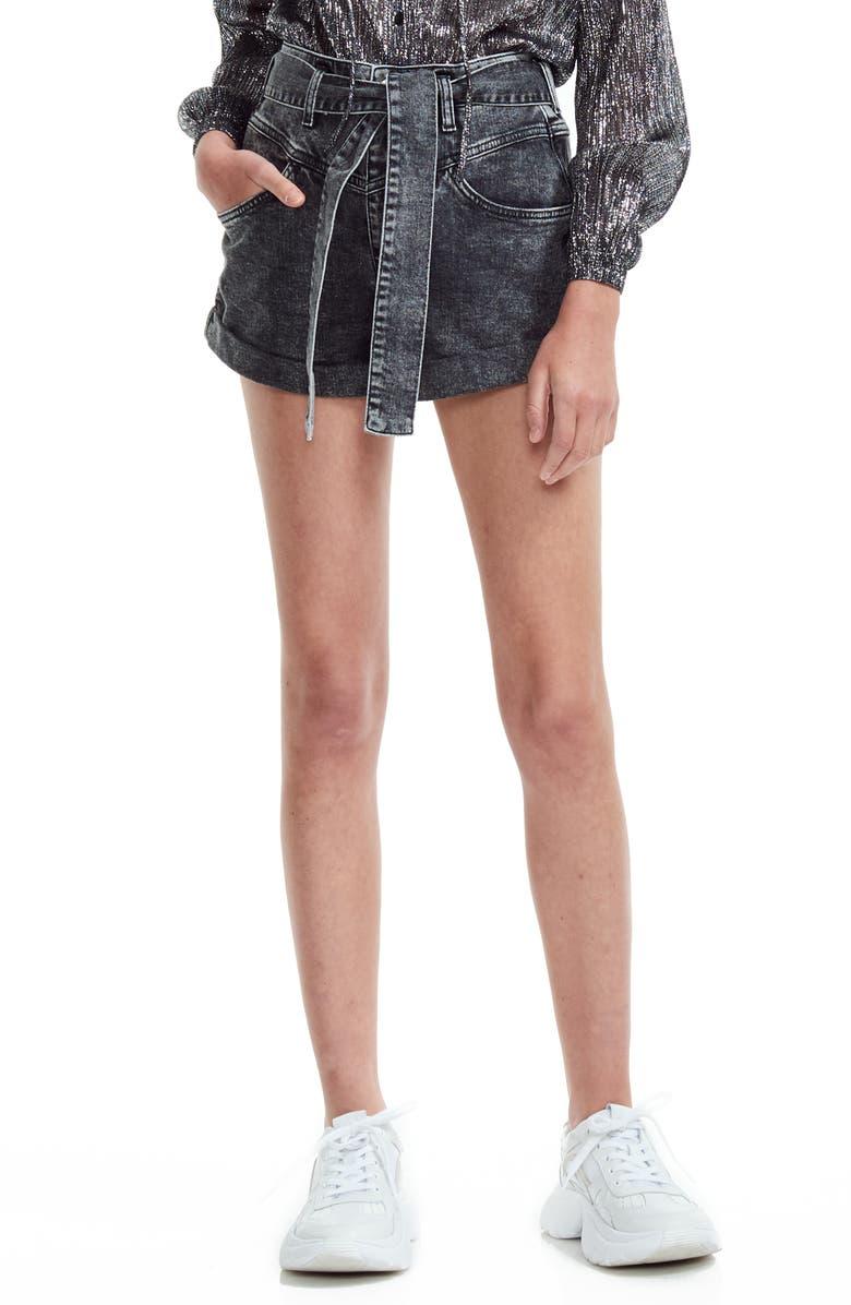 MAJE Illou Tie Waist Denim Shorts, Main, color, ANTHRACITE